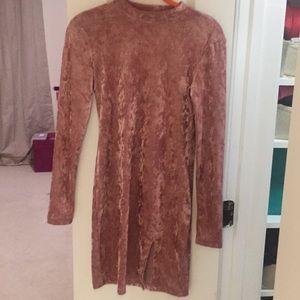 Forever 21 long sleeve pink velvet dress